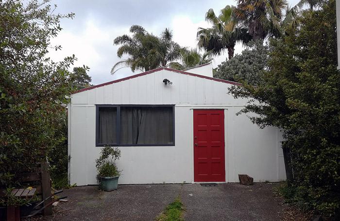 studio building with red door